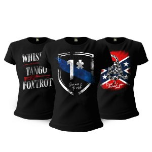 Kit 3 Camisetas Baby Look Femininas Militares One Ass To Risk Tactical Fritz Team Six