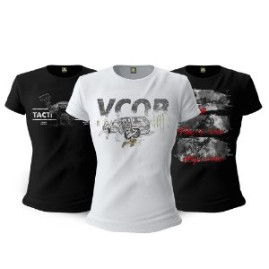 Kit 3 Camisetas Baby Look Femininas Militares Temple Index Tactical Fritz Team Six