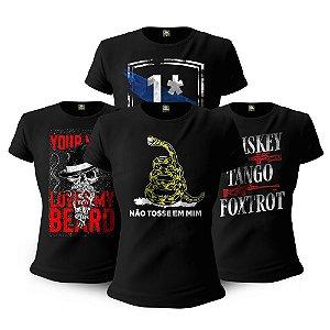 Kit 4 Camisetas Baby Look Femininas Militares Beard Risk Tactical Fritz Team Six