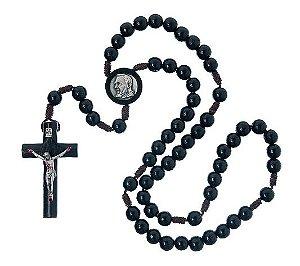 Terço de Madeira Preto São Padre Pio