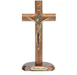 Crucifixo de Mesa Cilíndrica com São Bento 17cm