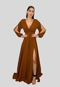 Vestido Longo com Magas Terracota Jade
