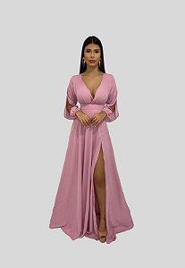 Vestido Longo com Mangas Rosê Jade