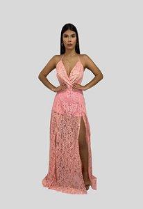 Vestido Longo de Renda Vazado Rosa Ibiza