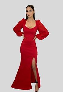 Vestido Longo Vermelho com Fenda