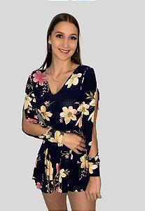 Macaquinho Short Saia Floral