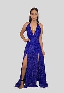 Vestido Longo de Renda Vazado Azul Ibiza