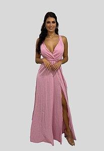 Vestido Longo Poá Rose