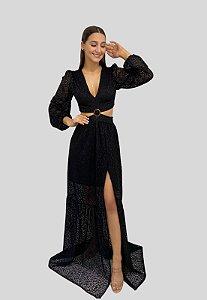 Vestido Longo de Renda Preto Morgana