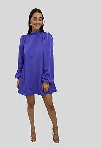 Vestido Curto com Mangas Bufante Isadora Azul