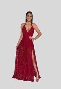 Vestido de renda vermelho Iara