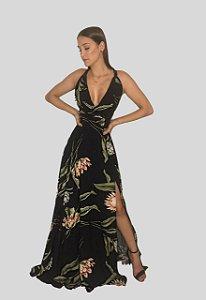 Vestido Longo com Fenda Estampado