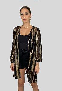 Kimono Luxo com Lantejoulas Preto