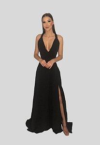 Vestido Longo Fluido Com Fenda Preto