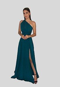 Vestido Fluido com Fenda Mil Formas Esmeralda