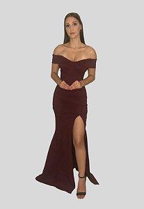 Vestido Longo Sereia com Fenda Yasmim Marsala