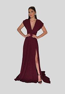 Vestido longo Mil formas com Fenda Marsala