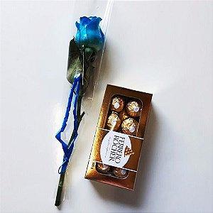 Rosa Solitária Azul e Ferrero Rocher ou Chocolate importado