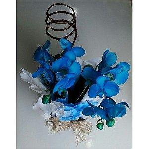 Orquídea Azul no Cachepot de Madeira
