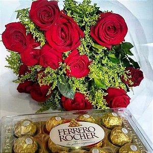 Bouquet de Rosas Vermelhas  ou Coloridas com 12 unds  e Ferrero Rocher 8 und ou Chocolate Importado