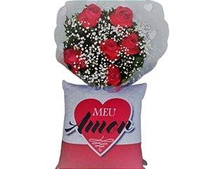 Buquê de 6 Rosas Vermelhas e Almofada Especial