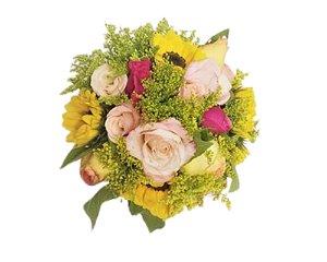 Bouquet Unique Girassol e Rosas