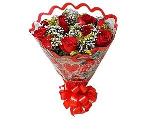 Buquê de Rosas Vermelhas ou Coloridas com 12 unds.