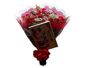 Buquê de 24 rosas Vermelho ou Colorido ; Com Ferrero ou Chocolate Importado