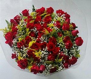 Buquê de 36 Rosas  Coloridas ou Vermelhas