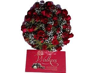 Buquê de 36 Rosas Vermelhas ou Coloridas com Ferrero Rocher  ( 8 unidades ) ou Chocolate Importado