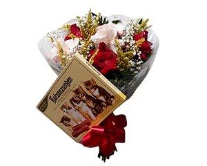 Buquê de 6 Rosas Vermelhas ou Coloridas com Chocolate Língua de Gato ou Ferrero Rocher 8 unidades