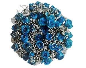 Buquê de 36 Rosas Azuis ou Azuis, Rosas e Brancas