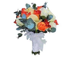 Buquê de Noiva com Calla Rosas e Eucaflor