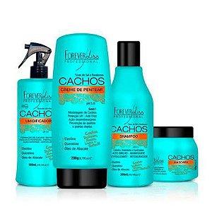 Kit Cachos Shampoo + Umidificador + Creme de Pentear + Máscara + Forever Liss