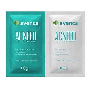 Máscara Facial Antiacne Acneed Avenca Cosméticos Sachê 2X10g