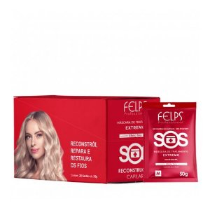 Máscara de Reconstrução Extrema SOS Felps Professional - Kit 20 Sachê 50g