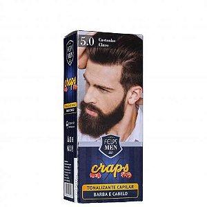 Tonalizante Capilar barba e Cabelo 5.0 Catanho Claro Craps Felps Men 40ml