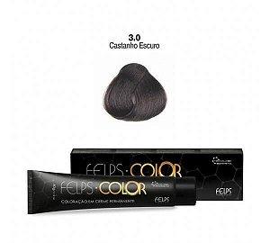 Coloração em Creme Permanente Castanho Escuro 3.0 Felps Color Professional 60g