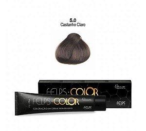 Coloração em Creme Permanente Castanho Claro 5.0 Felps Color Professional 60g