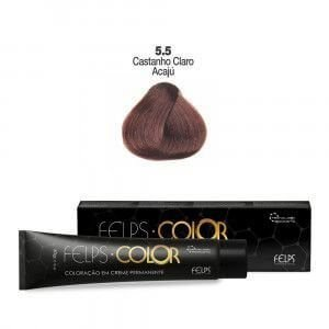 Coloração em Creme Permanente Castanho Claro Acajú 5.5 Felps Color Professional 60g