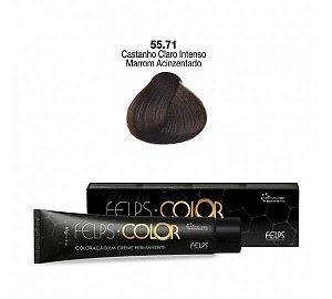 Coloração em Creme Permanente Castanho Claro Intenso Marrom Acinzentado 55.71 Felps Color 60g