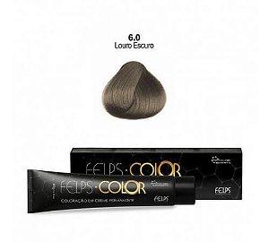 Coloração em Creme Permanente Louro Escuro 6.0 Felps Color Professional 60g