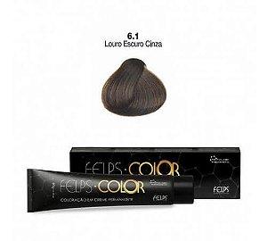 Coloração em Creme Permanente Louro Escuro Cinza 6.1 Felps Color Professional 60g