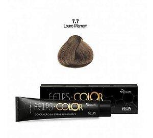 Coloração em Creme Permanente Louro Marrom 7.7 Felps Color Professional 60g