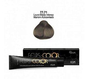 Coloração em Creme Louro Médio Intenso Marrom Acinzentado 77.71 Felps Color Professional 60g