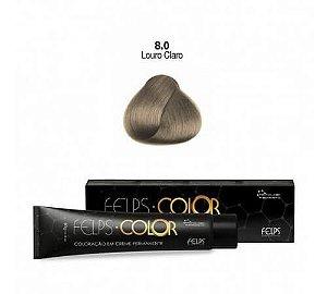 Coloração em Creme Permanente Louro Claro 8.0 Felps Color Professional 60g