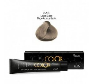 Coloração em Creme Permanente Louro Claro Bege Acinzentado 8.13 Felps Color Professional 60g