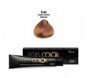 Coloração em Creme Permanente Louro Claro Cobre Intenso 8.44 Felps Color Professional 60g