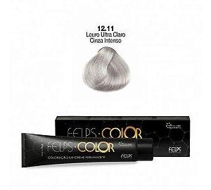 Coloração em Creme Permanente Louro ultra Claro Cinza Intenso 12.11 Felps Color Professional 60g