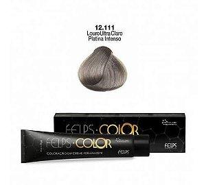 Coloração em Creme Louro ultra Claro Cinza Platinado Intenso 12.111 Felps Color Professional 60g